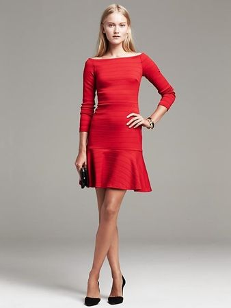 Seamed Ponte Fit-and-Flare Dress Red