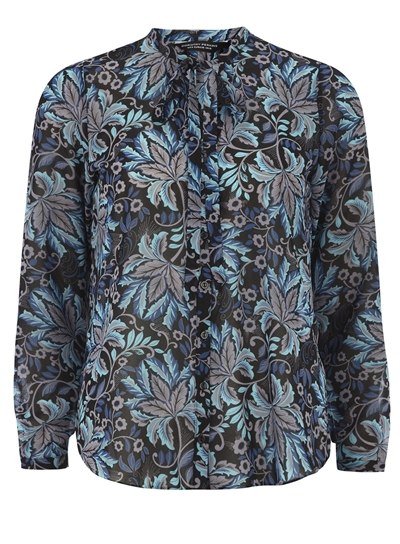 Teal Paisley Print Pussybow Blouse