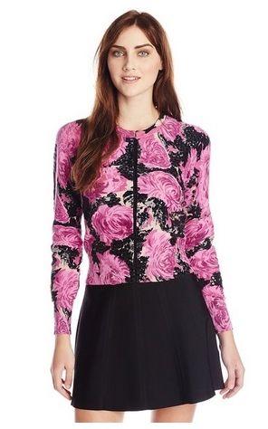 Tracy Reese Womens Beaded Floral Mum Print Cardigan Sweater