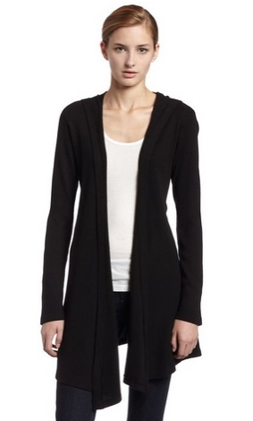 allen allen Womens Hooded Open Cardigan Sweater