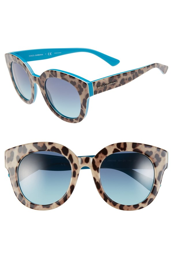 Dolce & Gabbana ´Animalier' 49mm Retro Sunglasses
