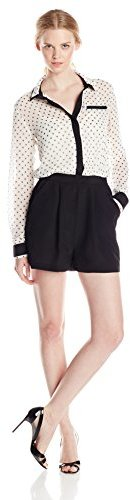 BCBGeneration Womens Double Collar Button-Up Romper