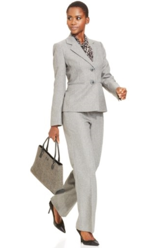 Le Suit Herringbone Pantsuit & Printed Scarf