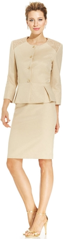 Metallic Lace-Shoulder Peplum Skirt Suit