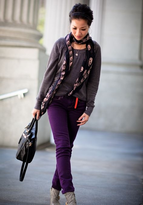 Purple Jeans and Gray Ankle Boots Shorten Legs