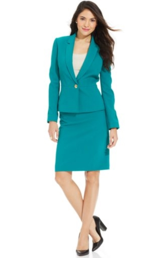 Single-Button Seamed Skirt Suit