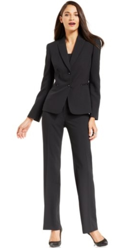 Two-Button Pinstriped Pantsuit