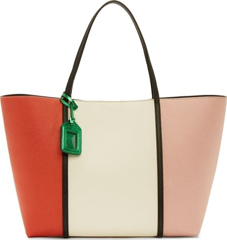 White Colorblocked Leather Tote Bag