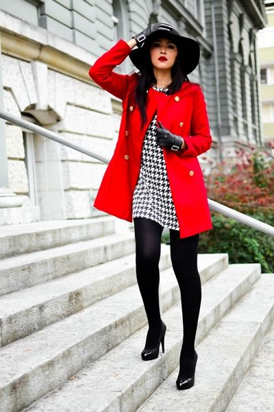 bright red coat with houndstooth