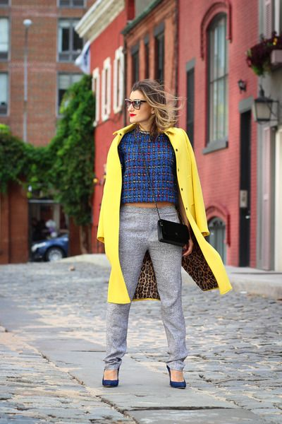 bright yellow coat with joggers