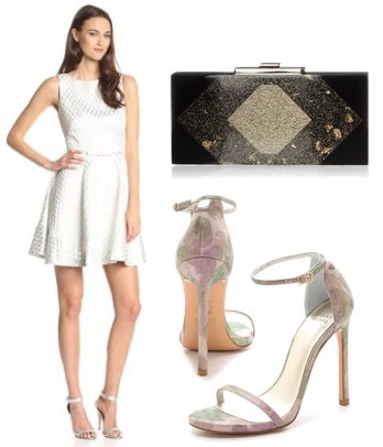 Silver Diamond Jacquard Fit-and-Flare Dress