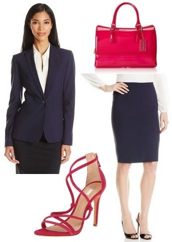 navy suit for work with red shoes