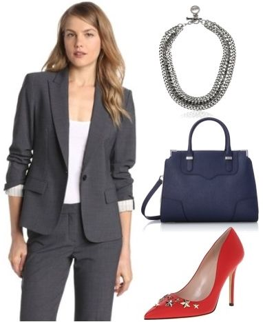 powerful suit with red pumps for work