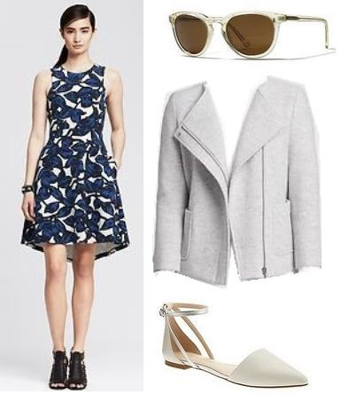 Blue Floral Print Fit and Flare Dress
