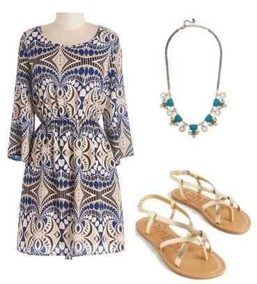 Boho ALong-Sleeve A-line Dress