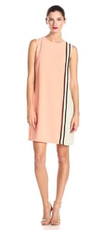 Donna Morgan Womens Color Block V-Neck Shift Dress with Front Zipper