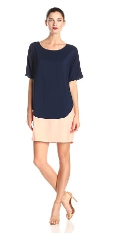 Donna Morgan Womens Dolman-Sleeve Color-Block Dress Black