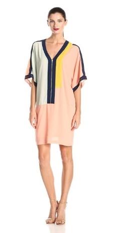 Donna Morgan Womens Sleeveless Color-Block Piped Shift Dress