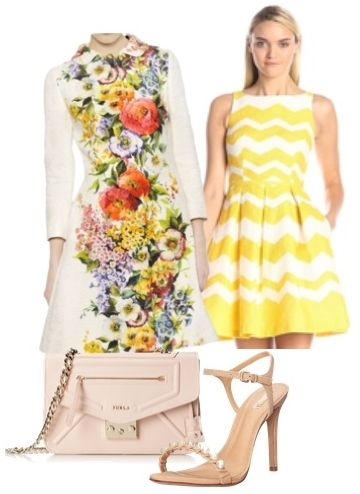 Floral Print Coat with Zig Zag Print Dress