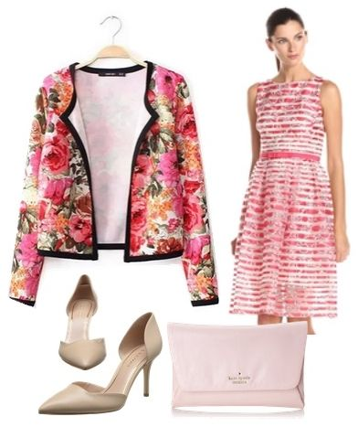 Floral Short Jacket with Striped Print Oraganza Dress