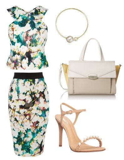 Scuba Top and Skirt in Contemporary Floral Print