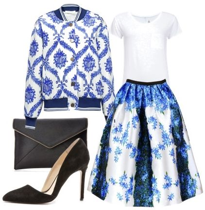 Wall Paper Print Jacket and Stripe Floral Full Skirt