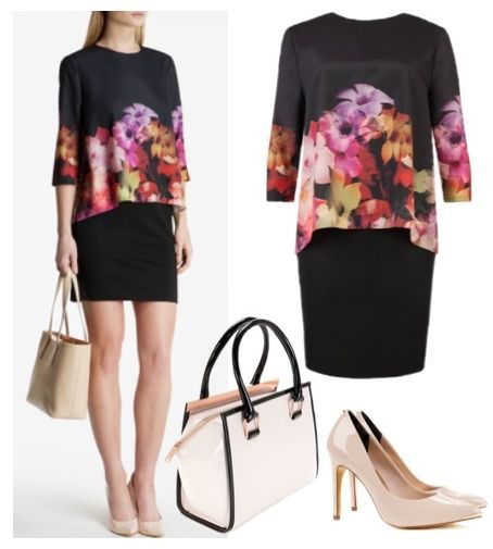 Womens Cascading Floral Layered Tunic