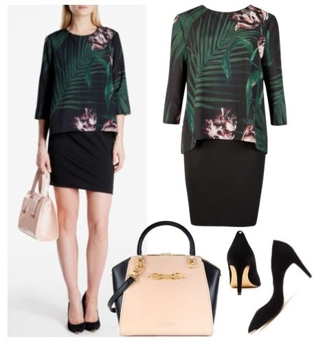 Womens Palm Floral Layered Tunic for Work