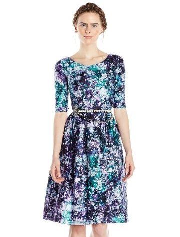 BUSAYO Womens Green Purple Dress