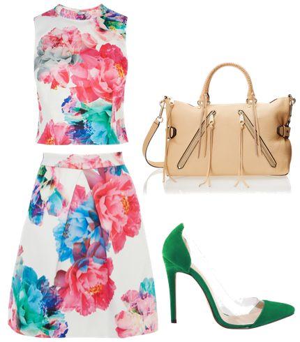 Bloom Print Top and Skirt