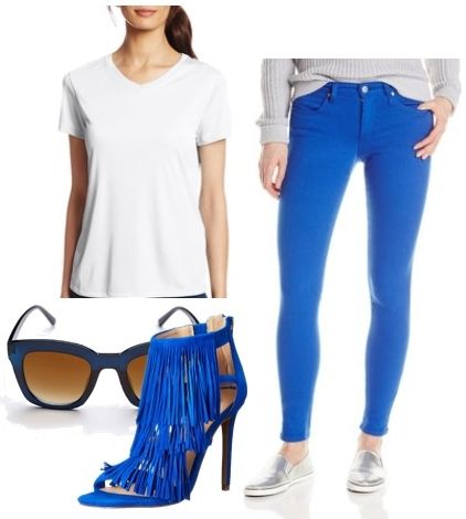 Colored Skinny Jeans with Fringe Ankle Strap Heels