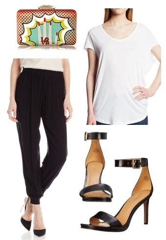 Comfy Joggers with Black Ankle Strap Heels