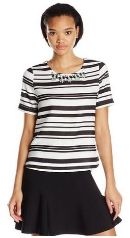Embellished Stripe Top with Jeweled Neckline for Work