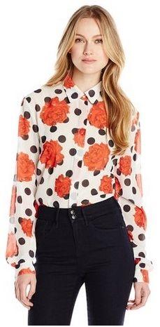 Falling Rose Button Front Shirt