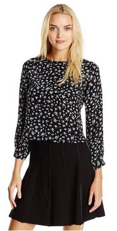 Floral Semi Cropped Pleat Back Blouse