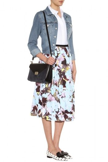 Imari floral-printed cotton skirt