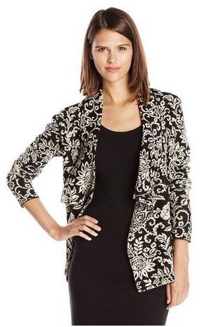 Jones New York Womens Floral Intarsia Open-Cardigan Sweater