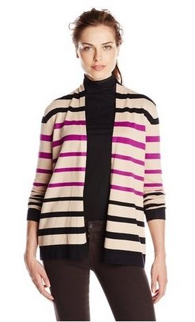 Knits by Hampshire Womens Long Sleeve Front Striped Cardi
