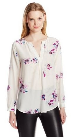 Long-Sleeve Floral-Print Silk Blouse
