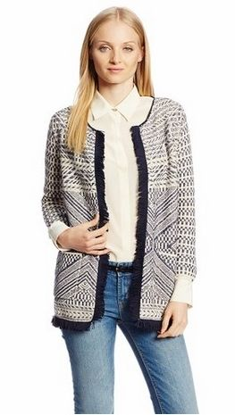 Lucky Brand Womens Fringe Sweater Coat