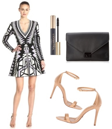 Mini Dress with Nude Ankle Strap Heels