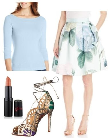 Rose Print Full Skirt with Ankle Strap Heels