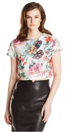 Short Sleeve Floral Botanical Printed Crop Top