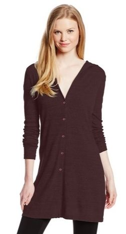 Three Dots Womens Hooded Tunic Cardigan