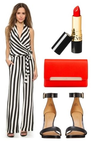 Vertical Stripe Jumpsuit with Ankle Strap