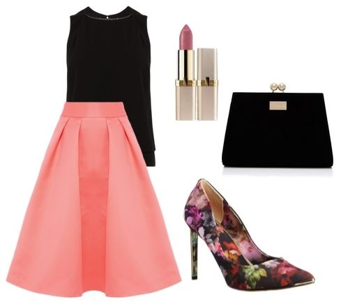 black sleeveless top with glamorous midi skirt