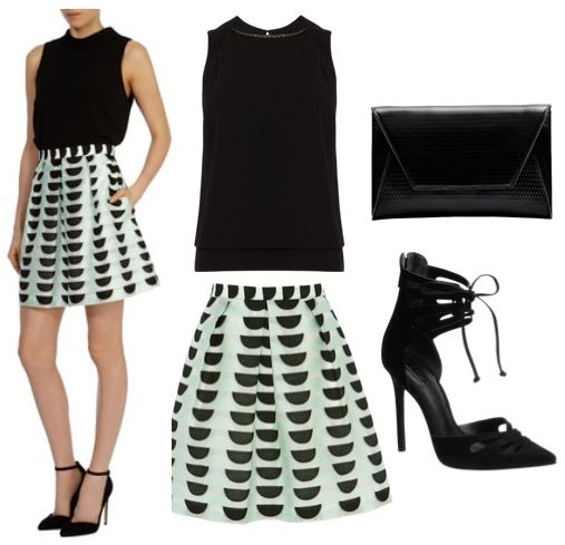 black sleeveless top with vintage inspired print A-line skirt