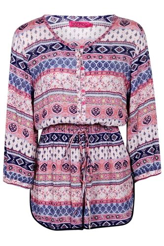 Aimee Button Through Ethnic Print Playsuit