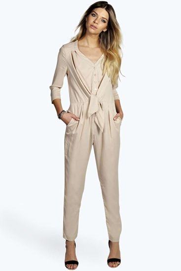 Annabeth Tie Detail Button Through Jumpsuit