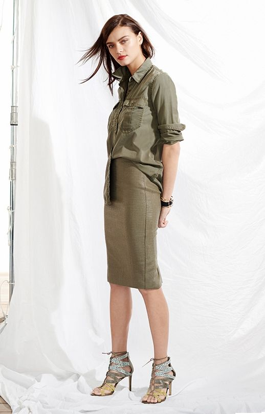 Army Green Boyfriend Shirt + Pencil Skirt